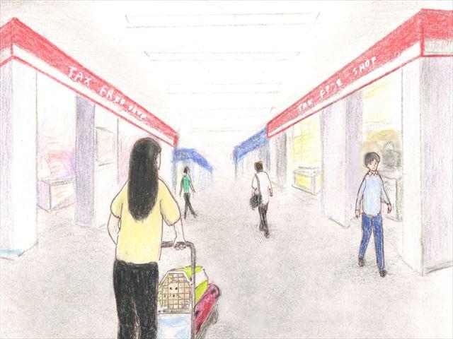 タイ国際空港の関税店でウインドウショッピング