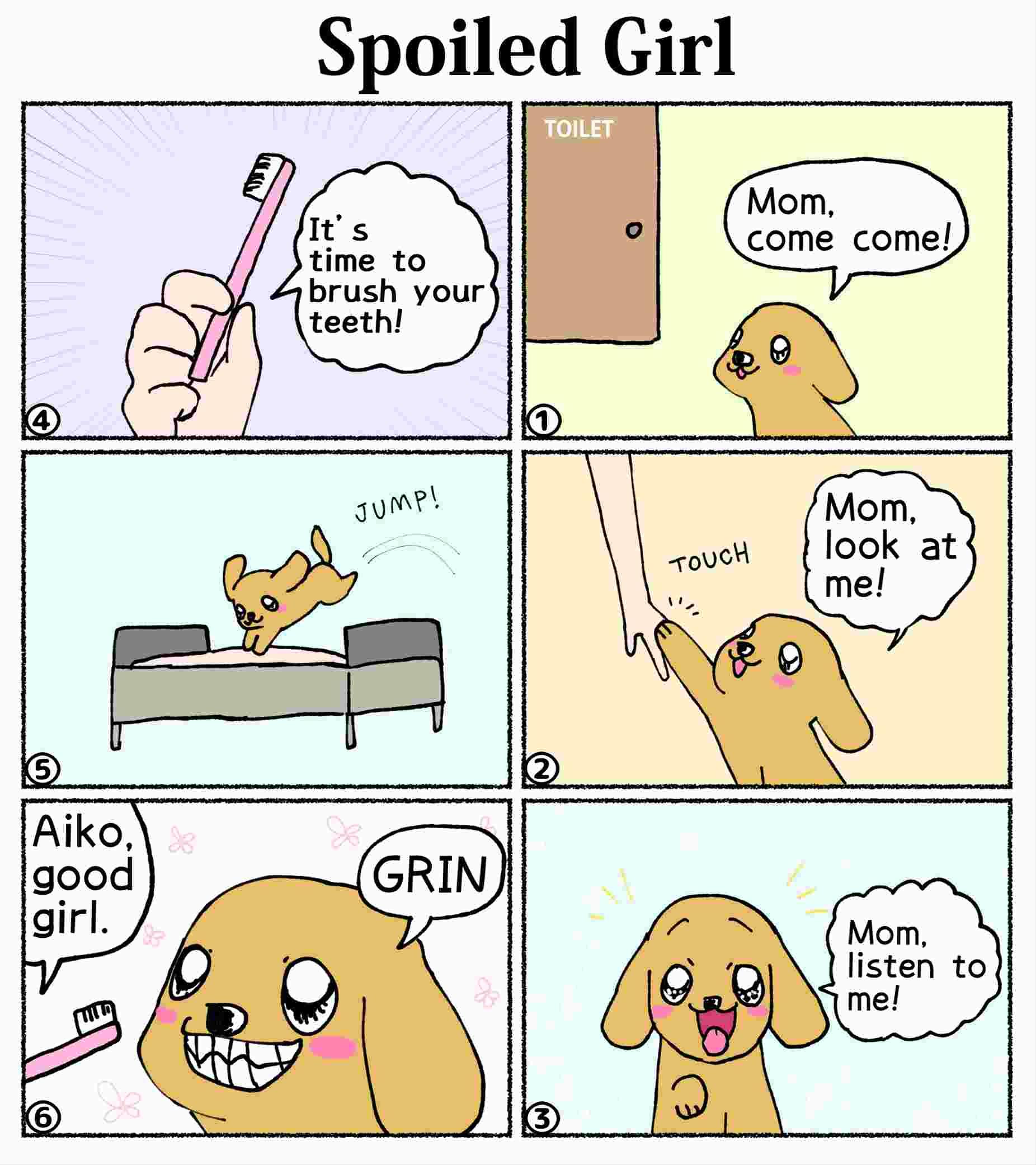 """Six-panel-comics-AI-chan7 """"Spoiled Girl"""""""
